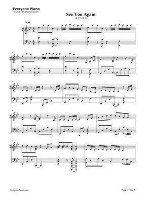 Wiz Khalifa Ft Charlie Puth See You Again Piano Sheet Music