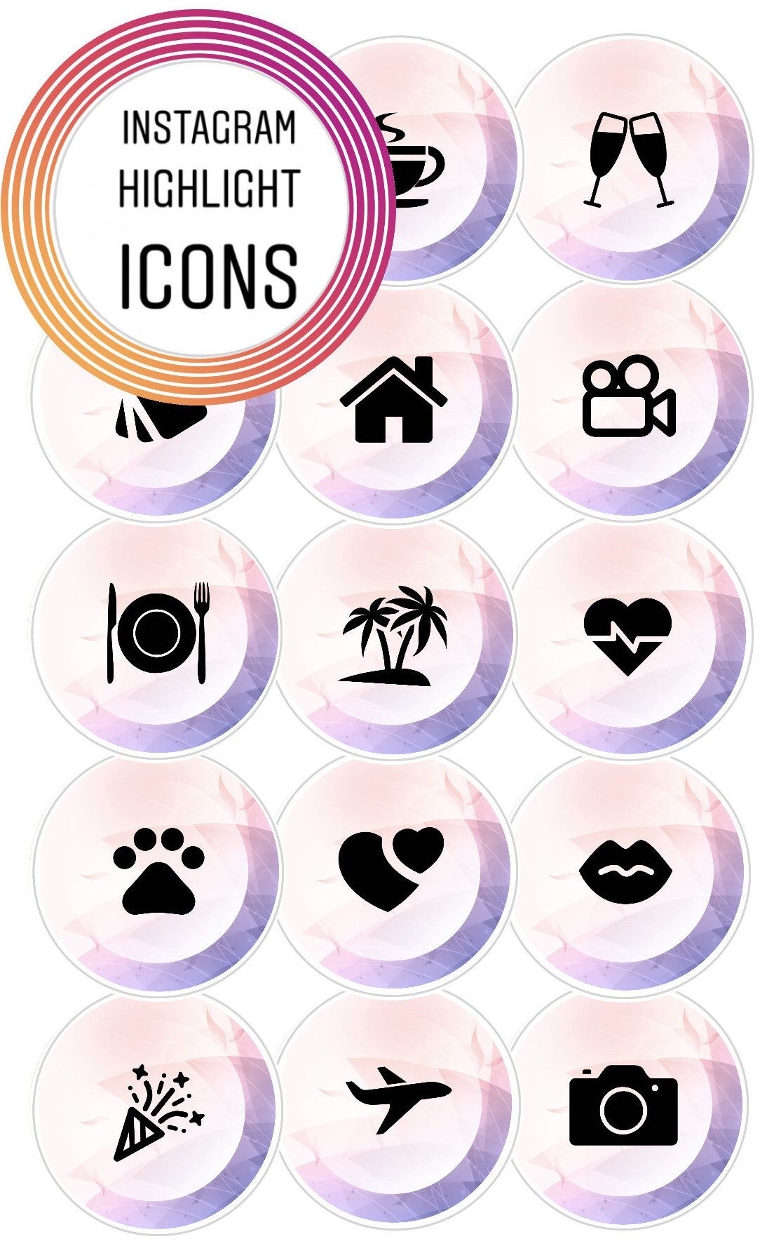 Instagram Story Highlight Cover Icons, Light Pink and