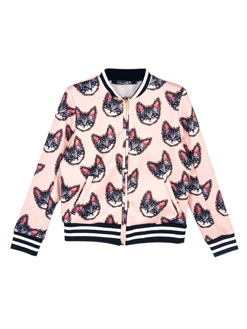 Cats on a jacket? Of course! Choies Design Cute Cat Print Bomber ...