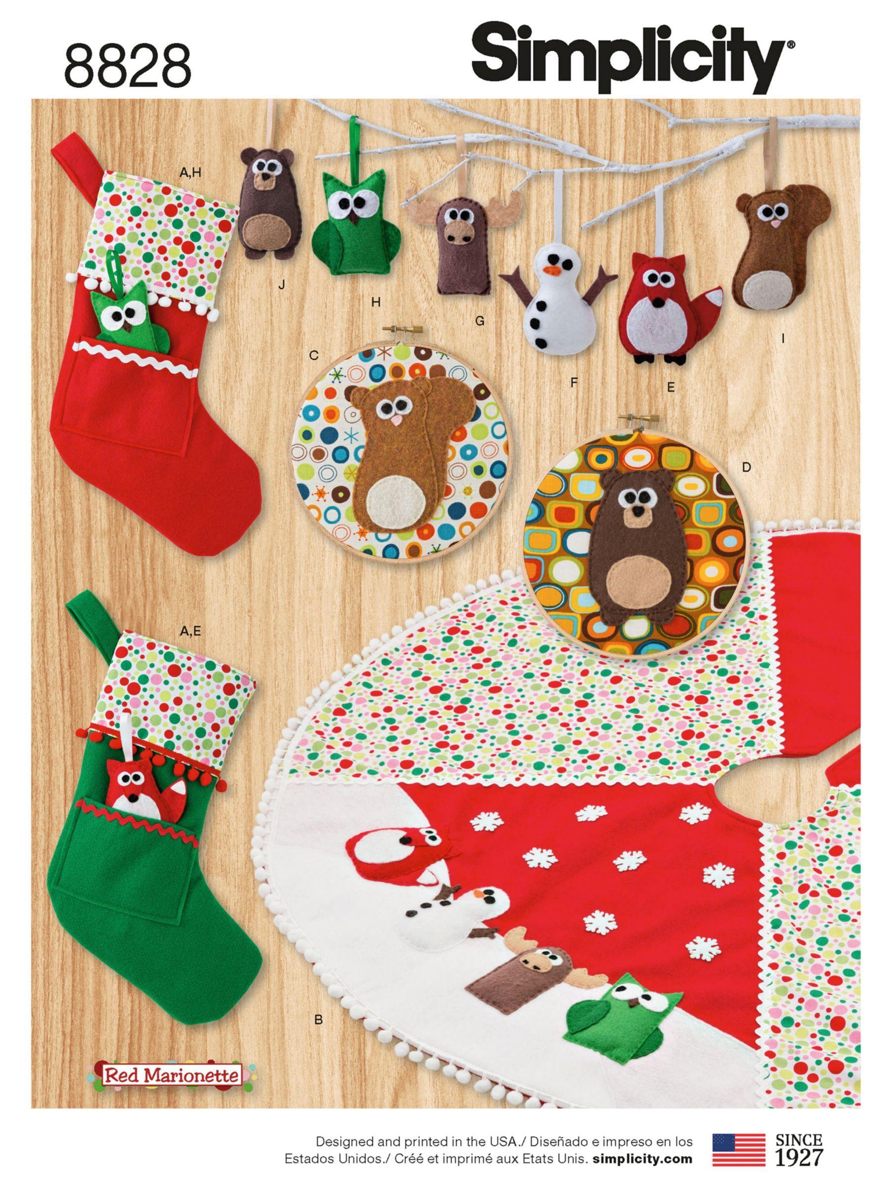 MAKE CHRISTMAS SOCKS~ORNAMENTS~TREE SKIRT SEWING PATTERN OWL~FOX~BEAR~DEER!