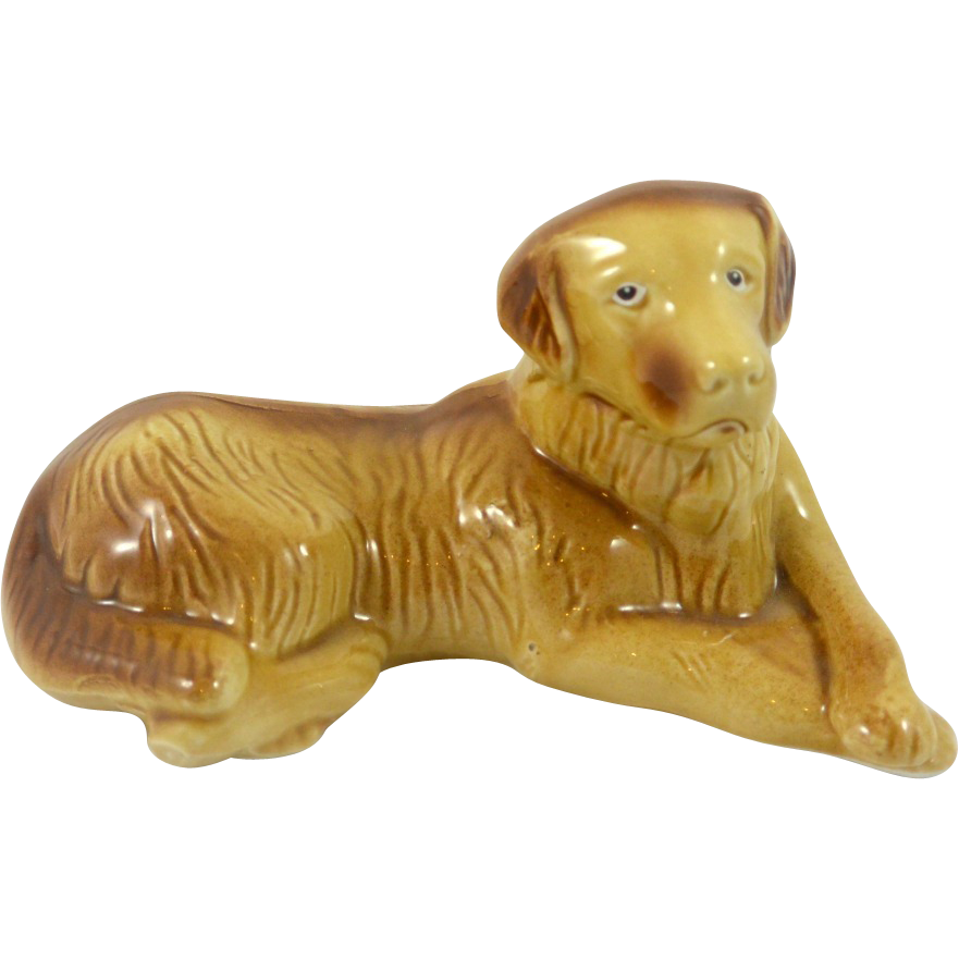 Vintage Ceramic Yellow Labrador Retriever Dog from Brazil.