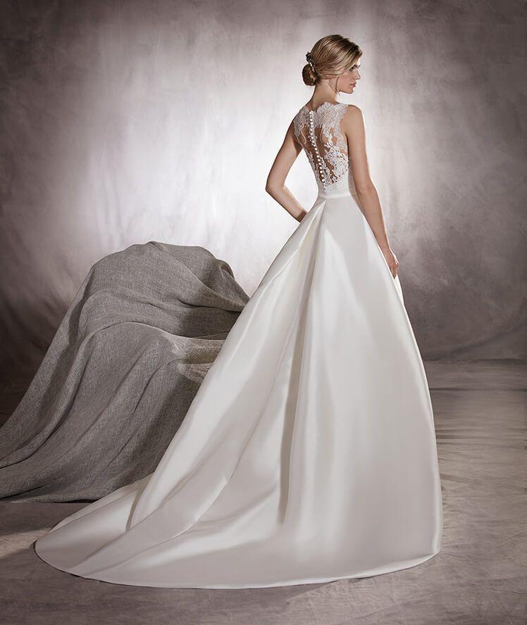 Mikado Wedding Gown: Mikado Wedding Dress, With Bateau Neckline