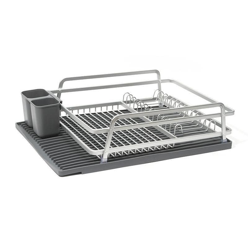 Aluminum Dish Rack With Silicone Self Draining Mat Dish Racks Dish Rack Drying Dish Drying Mat