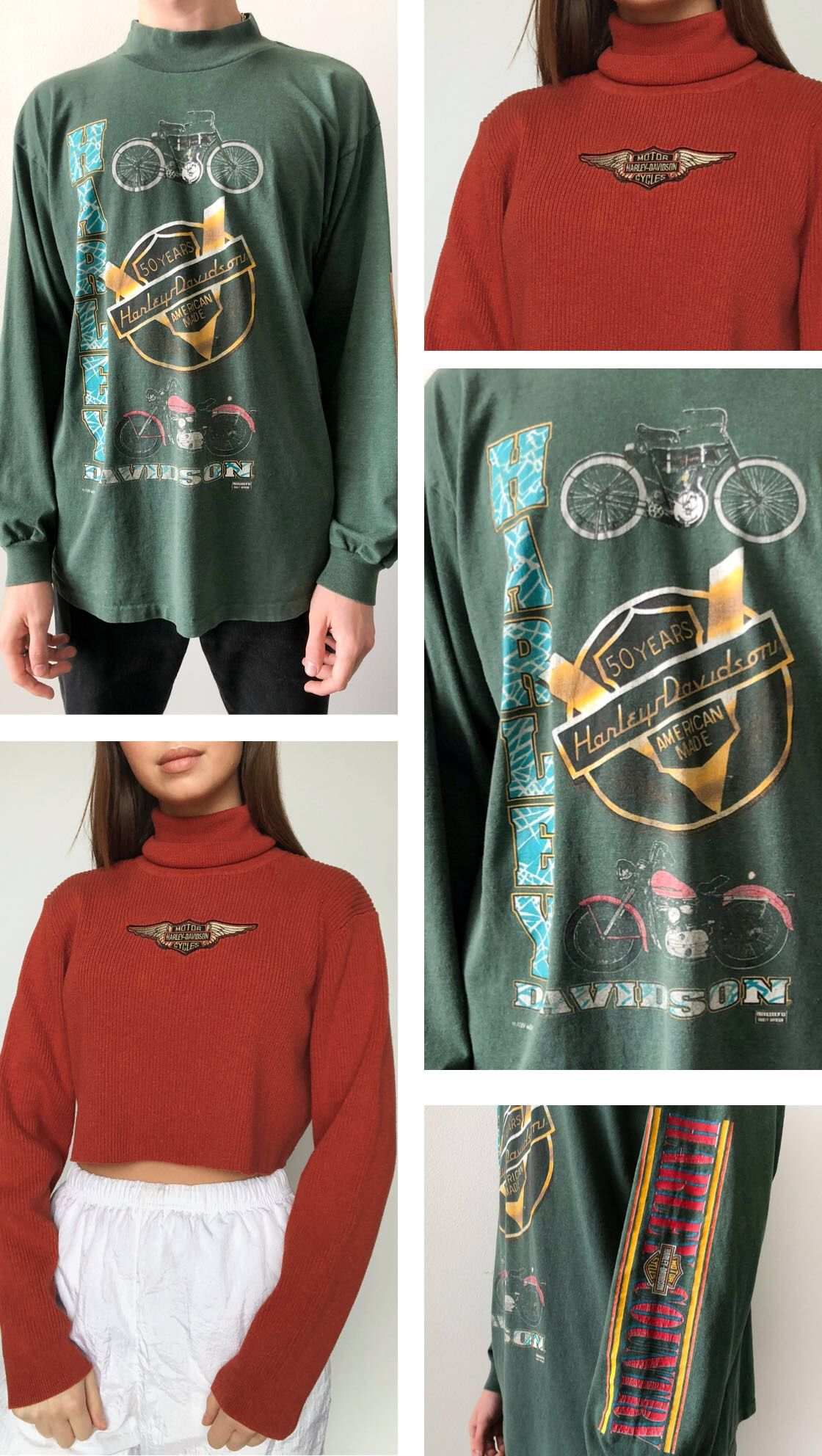 60677a4ab This long sleeve forest green Harley-Davidson tee features a mock neck and  perfectly cinched