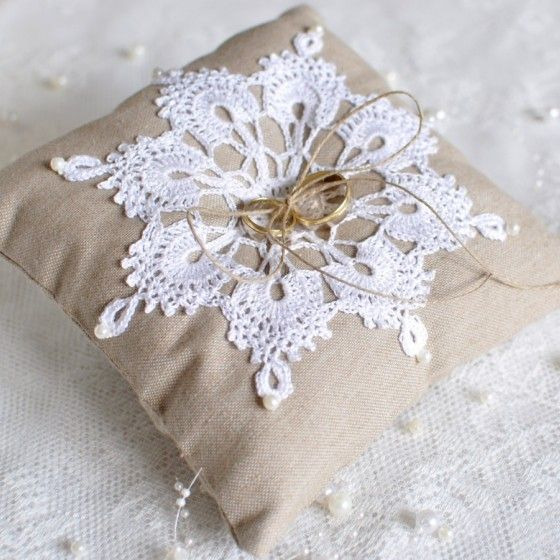 Wedding ring pillow - with crochetted doily