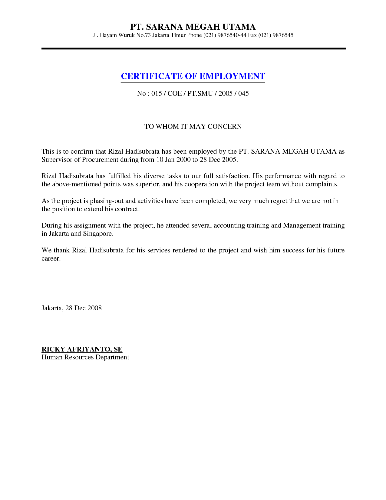 Job Employment Certificate Sample Certification Letter Letteres