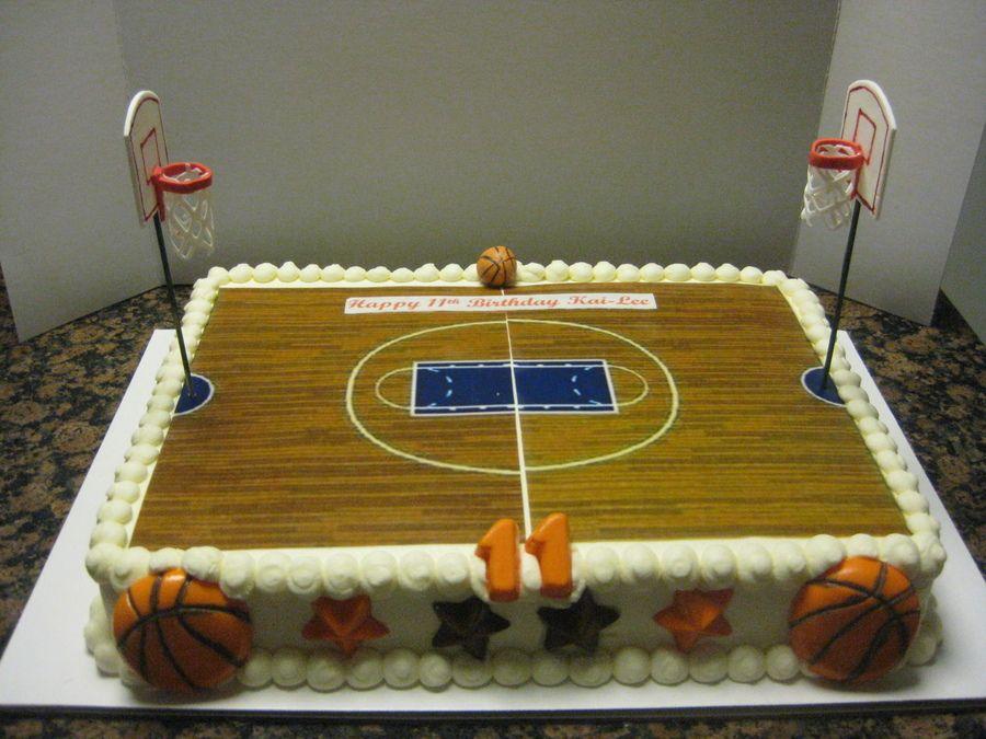 Pleasing Basketball Court Buttercream Frosting Edible Image Cakepins Com Funny Birthday Cards Online Kookostrdamsfinfo