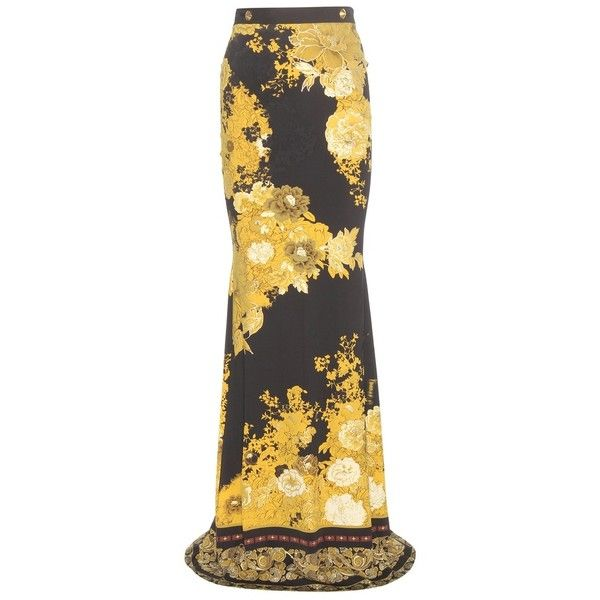 Roberto Cavalli Printed Stretch Skirt ($455) ❤ liked on Polyvore featuring skirts, black, black knee length skirt, stretch skirt, stretchy skirt, roberto cavalli skirts and black stretchy skirt