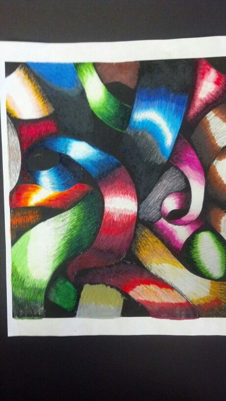 6th Colored Pencil Blending Over Ribbon Photocopy Elementary Art