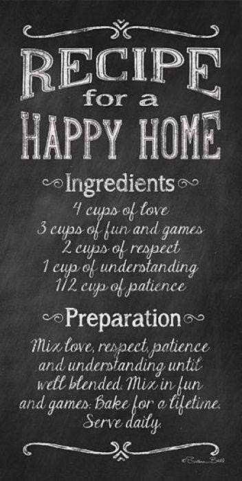 Happy Home Happy Family Recipe Home Art Happy