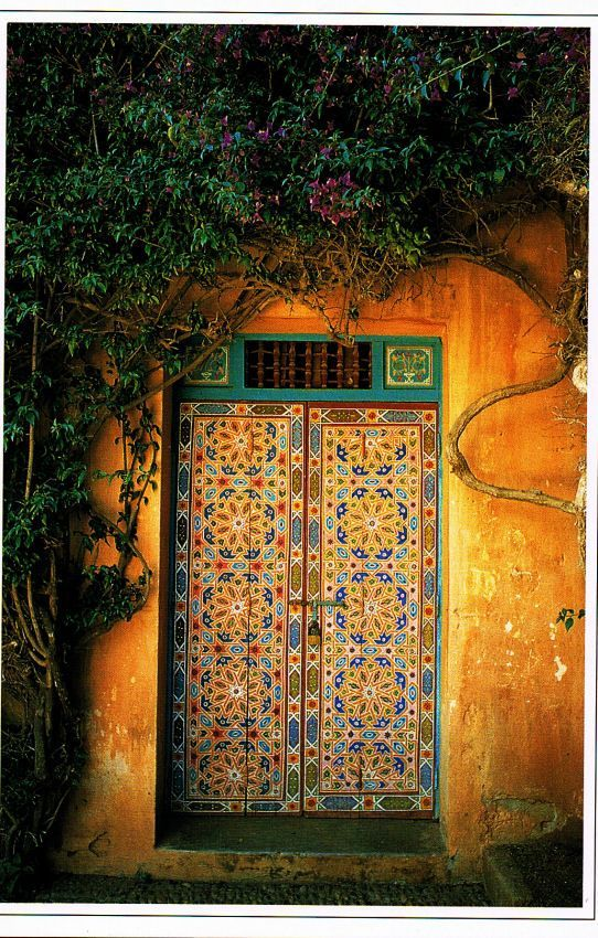 Colorful door in Rabat, Morocco ©️️ Peter Sanders  wish i could fit this into my Morrocan room