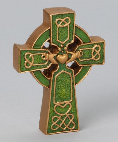 Another great find on #zulily! Green & Black Irish Table Cross by Roman #zulilyfinds