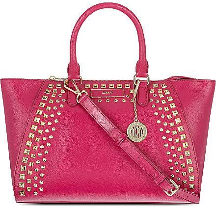 0dc26f7b4 DKNY Saffiano studded leather satchel on shopstyle.co.uk | Bags ...