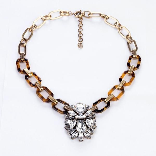 Classic Refinement Popular Crew Style Crystal Tortoise Necklace - Crystalline