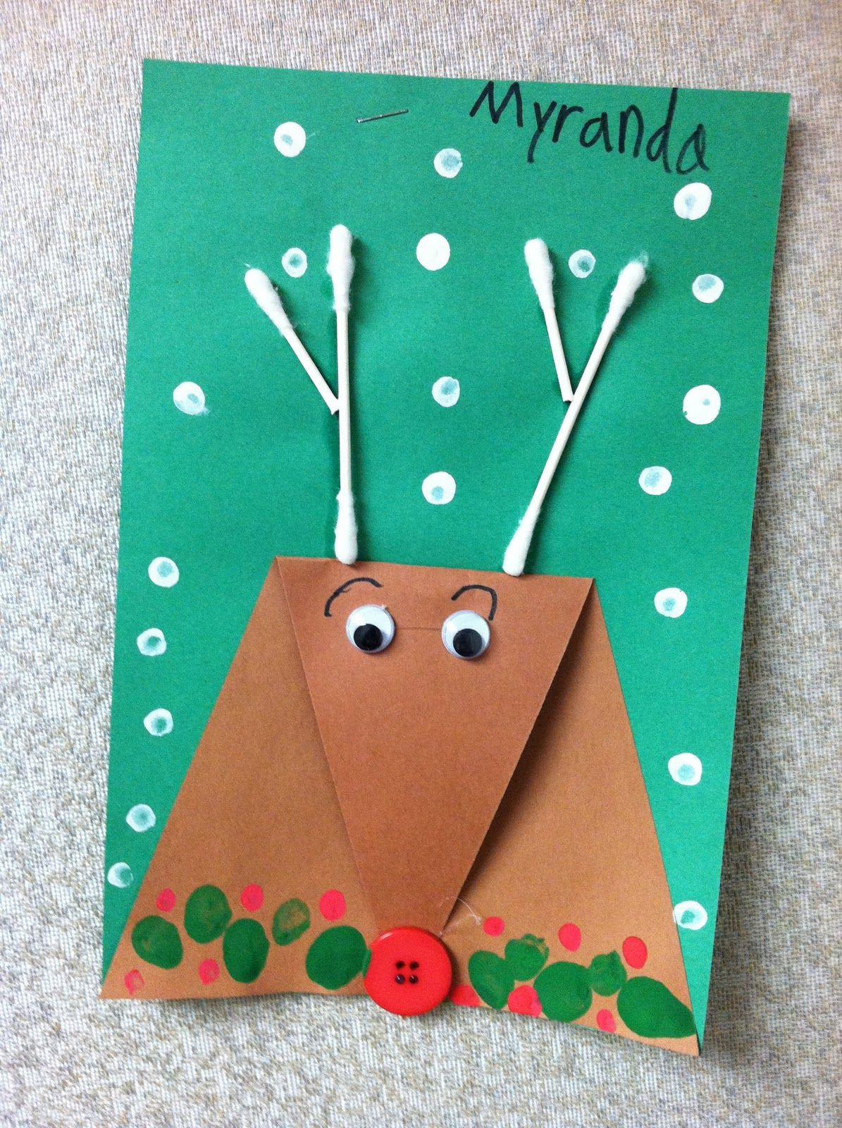 Superb Christmas Cards Arts And Crafts Ideas Part - 5: Perfect Christmas Reindeer Craft For Kindergarten Perfect Craft! ArtZ  KiddoZ - Triangle Collage Reindeer Card Or Picture. Great Activity To Do  With Little ...