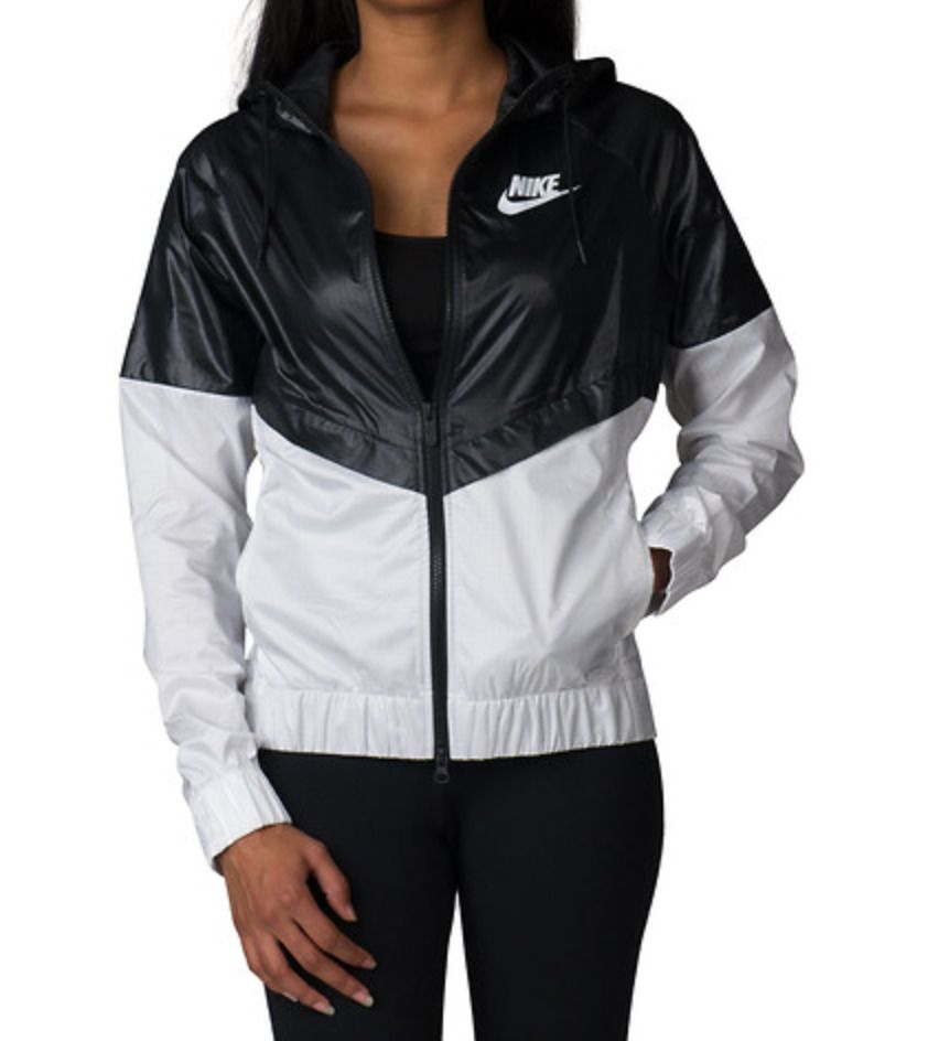 ba92ff704d59 Nike Women NSW Windrunner Black   White Sport Hooded Sweater Jacket  804947-010  Nike  CoatsJackets