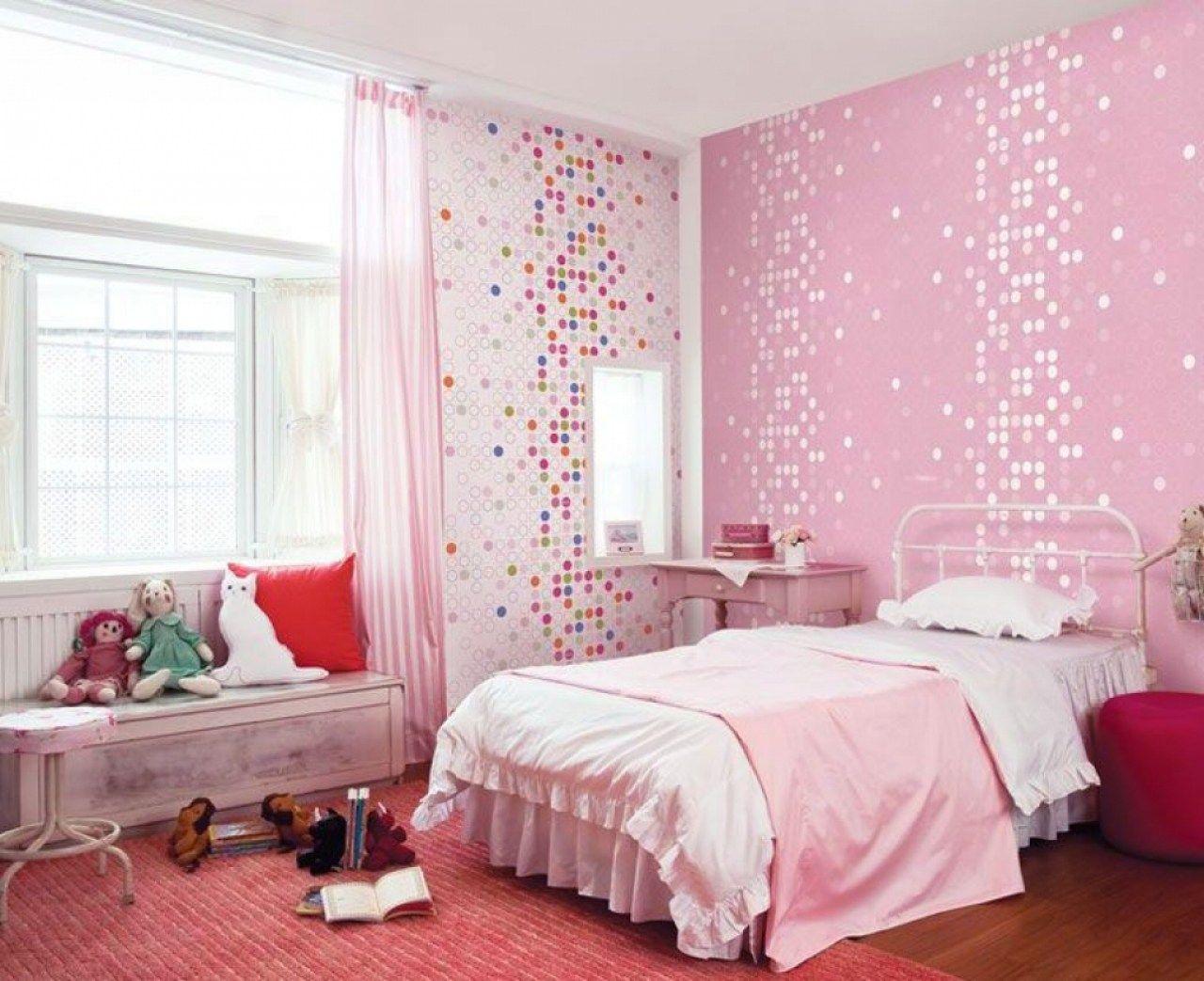 kids room cute pink dotty wallpaper girls bedroom home design floorboards french doors beige colours bedroom photo