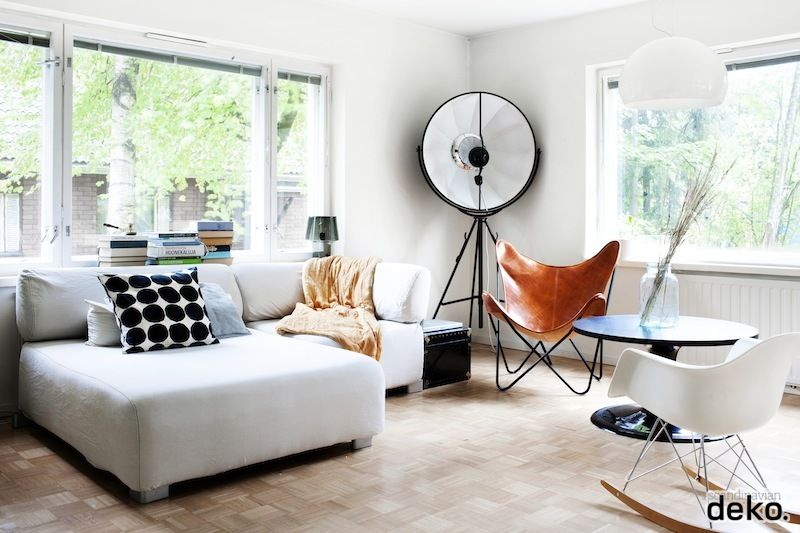 Love the classic Eames rocking chair & leather butterfly chair ...