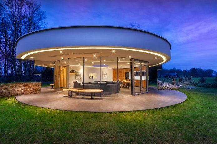 tiny modern circular villa in a dutch forest by 123dv caandesign