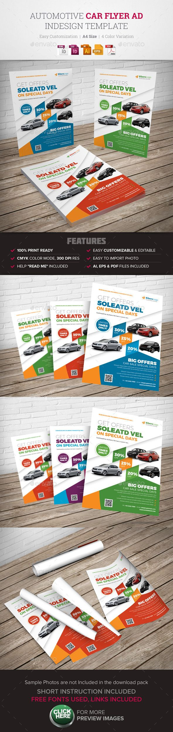 Car For Sale Flyer Automotive Car Flyer Ad Indesign Template  Automotive Graphic .
