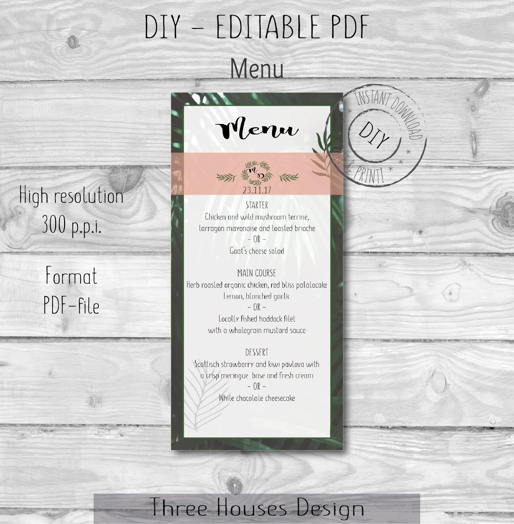 Green Leaf Blush Pink Wedding Menu Template Wedding Menu Leaves Printable Menu Diy Digital Instant Download Editable Pdf D Bruiloft Menu Sjablonen Template