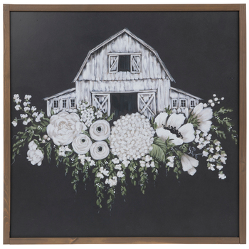 White Floral Barn On Black Wood Wall Decor Hobby Lobby 1795533 In 2020 Canvas Wall Decor Wood Wall Decor White Barn