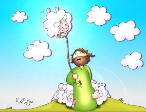 Kamiano El Buen Pastor Con Globo Al Cielo Jesus Cartoon Bible Crafts Christian Art