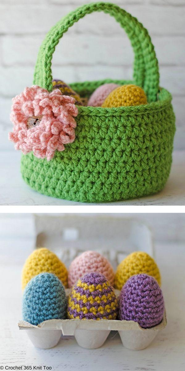 Easter Basket, Eggs & Bunny Free Crochet Pattern