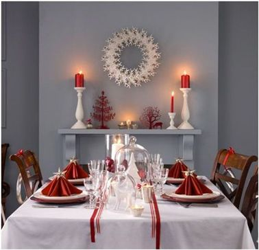 Deco Table Noel Rouge Et Blanc Dans Salle A Manger Grise Creative