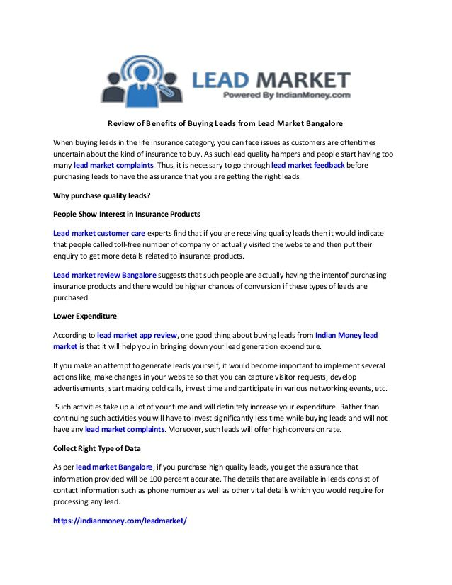 Lead Market Reviews Helps To Know About The Benefits Of Buying