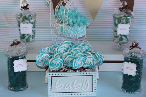 blue brown beige baby boy shower dessert table candy buffet swirl lollipops in baby box blue