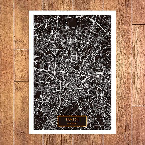 MUNICH Germany CANVAS Large Art City Map Munich by JackTravelMap