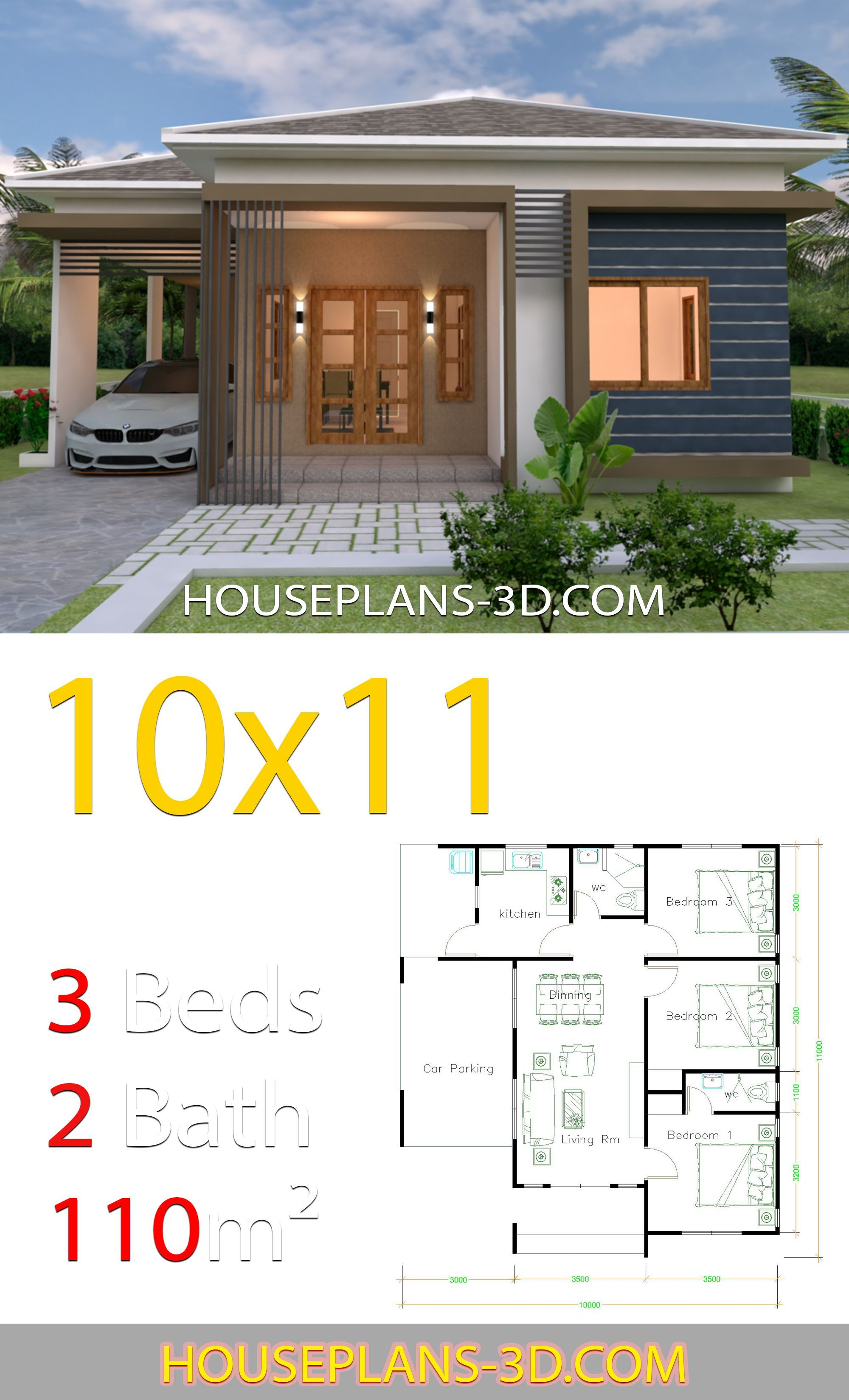 House Design 10x11 With 3 Bedrooms Hip Tiles House Plans 3d House Plans Beautiful House Plans Bungalow House Plans