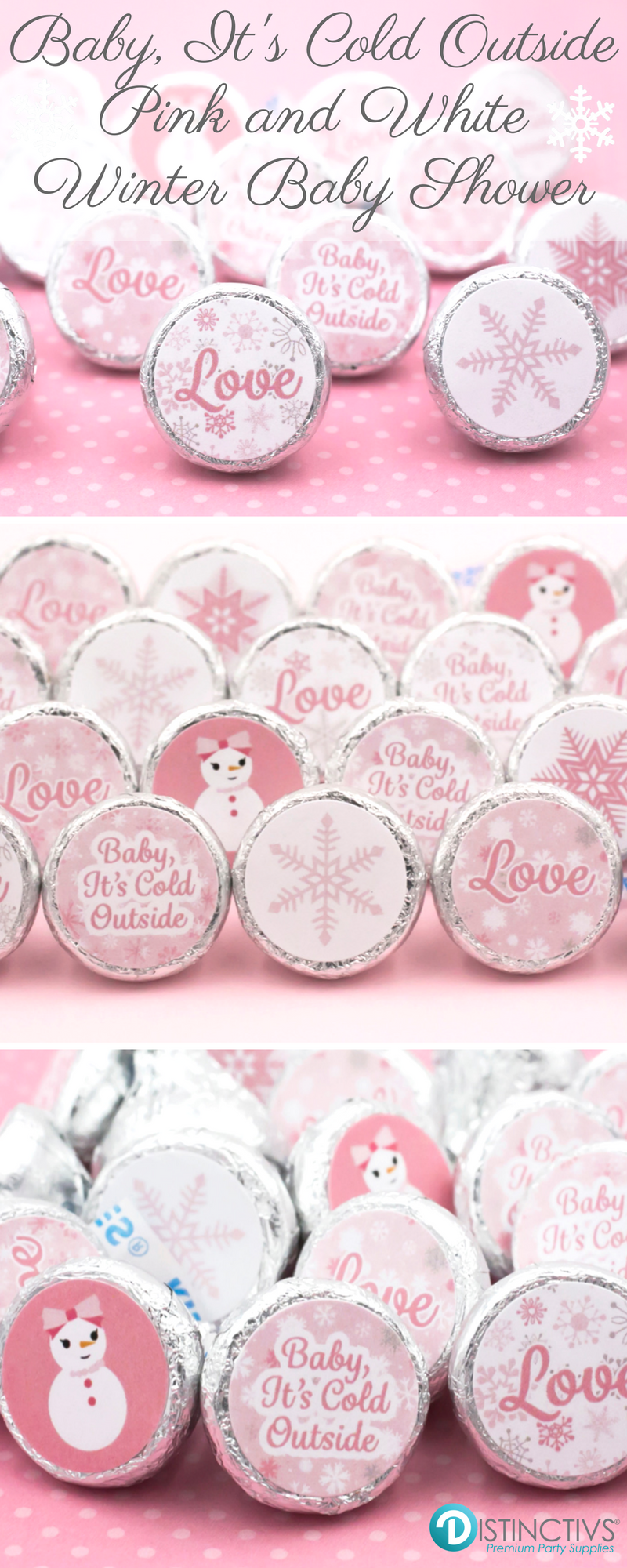 Pink Winter Wonderland Party Stickers (Set of 324) | Winter baby ...