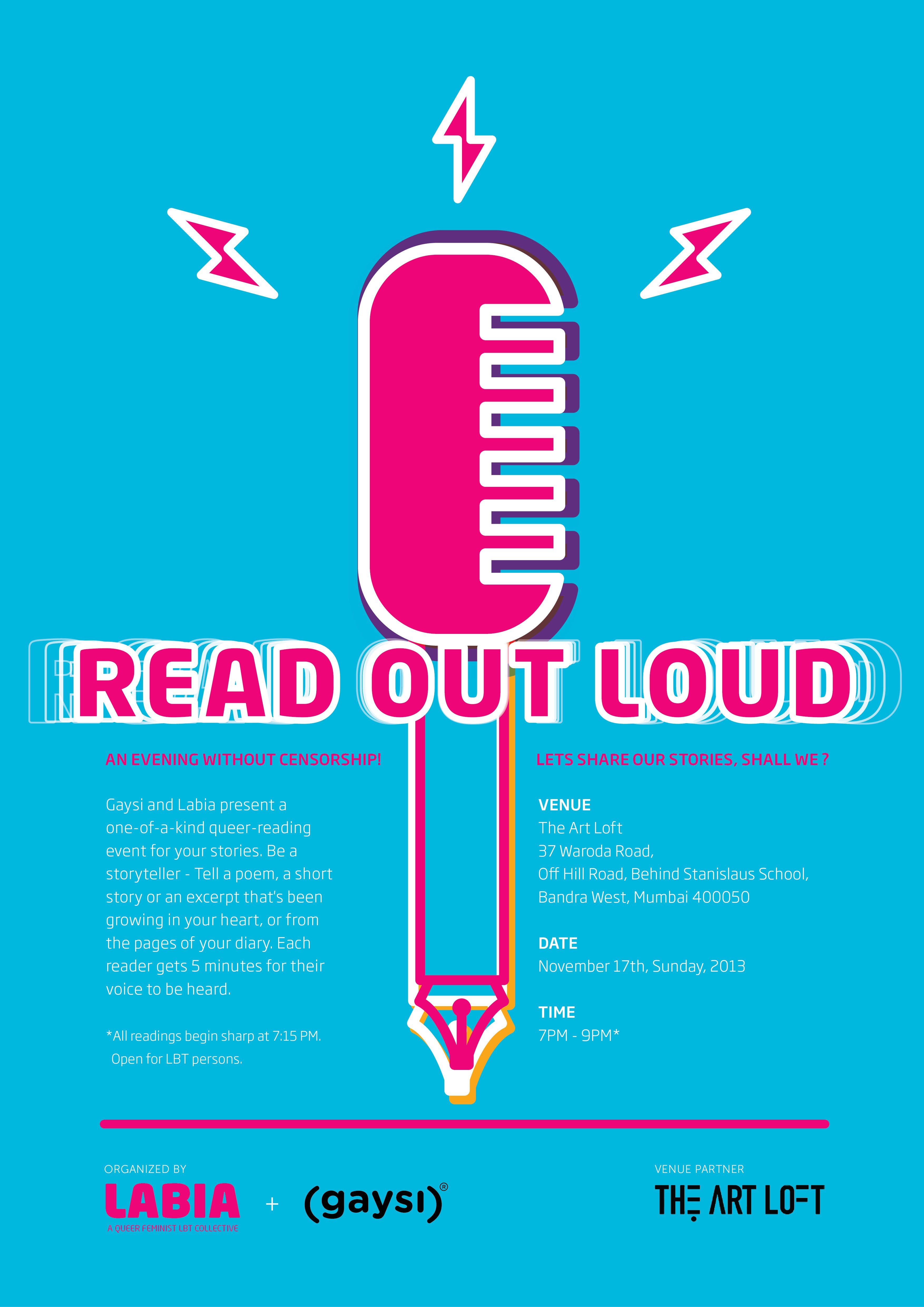 Read Out Loud Queer Book Reading Session in Mumbai on 17th