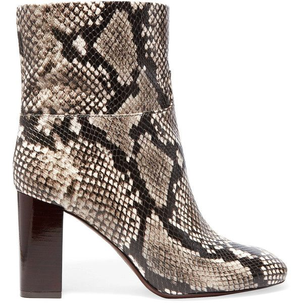 b8cd438f6a1d wholesale tory burch devon snake effect leather ankle boots 1095 myr liked  on polyvore featuring shoes