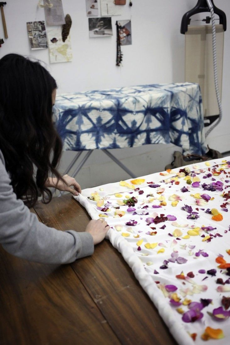 Diary: Natural Flower Dyes and Silk Scarves, from Cara Marie Piazza Natural Dyeing with Flowers in the studio with NYC textile designer Cara Marie Piazza. Photographed by Sophia Moreno-Bunge. via GardenistaNatural Dyeing with Flowers in the studio with NYC textile designer Cara Marie Piazza. Photographed by Sophia Moreno-Bunge. via Gardenista