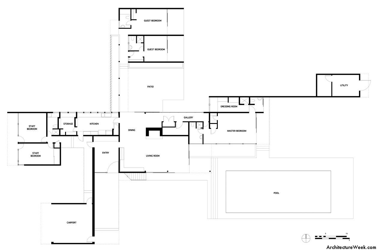 Richard neutra kaufmann desert house ground floor plan for Modern house layout plan