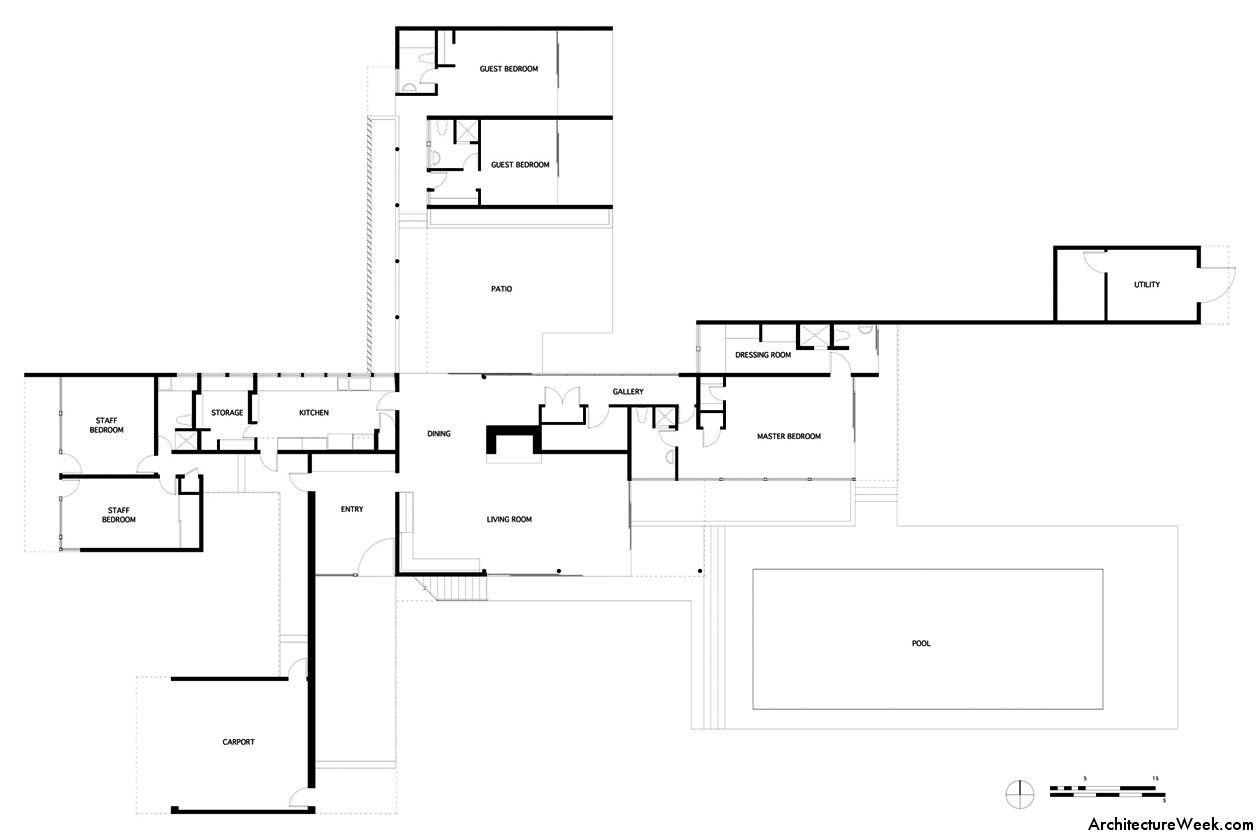 Richard Neutra Kaufmann Desert House ground floor plan – Richard Neutra Kaufmann House Floor Plans