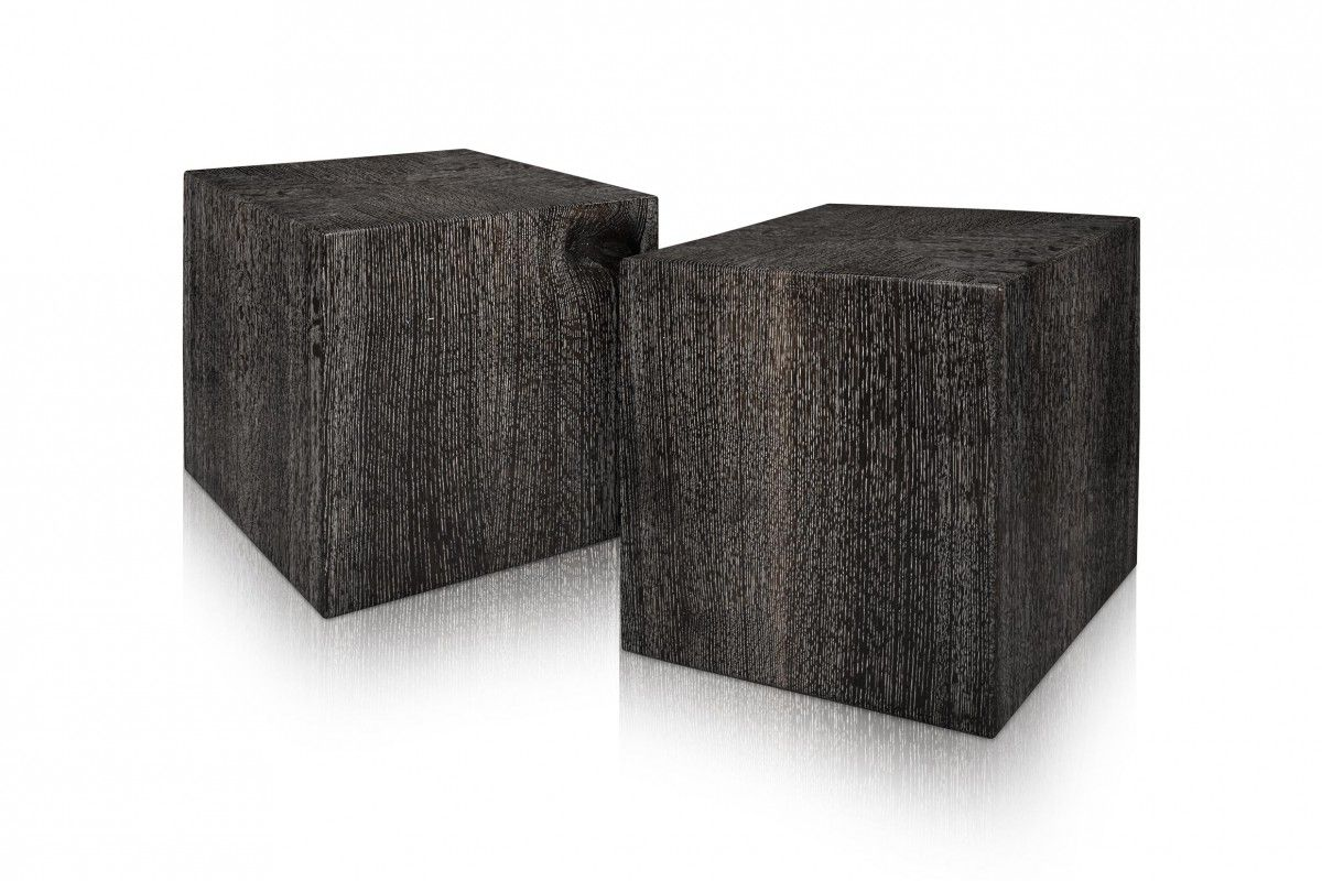 Ebonized And Cersued Quarter Sawn White Oak Cubes   Woodmark Studios