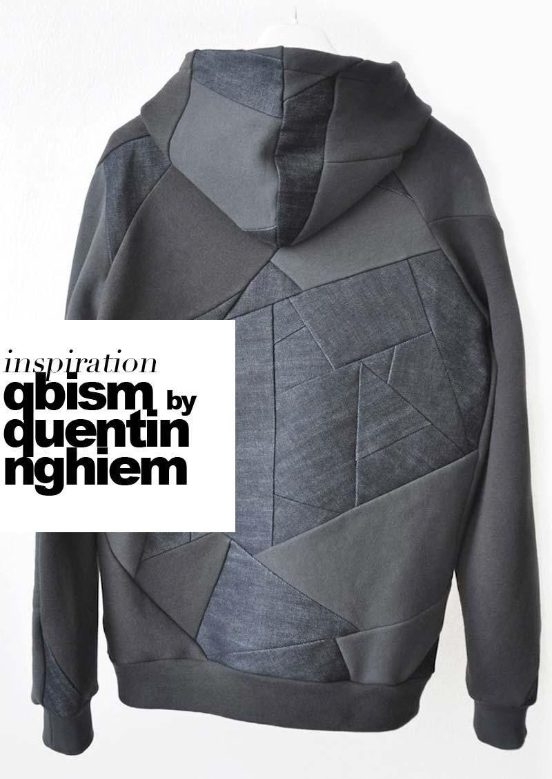"""Tästä minä pidän. Graafista tilkkutekniikkaa kierrätysmateriaaleista sovellettuna väriharmoniassa unisex-vaatteisiin. Denimiä, nahkaa ja collegea selkeinä linjoina.Quentin Nghiemin """"QBISM"""" on artesaani ateljémallisto oli myynnissä Opening Ceremonyn nettikaupassa ja (ylläri ylläri) nyt loppuunmyyty. Inspiroivaa kamaa yksinkertaisen muodin ystäville ja trashionistalle. Vaatteita, jotka istuvat sekä pojille, tytöille että kaikille siltä väliltä. Seuratkaa tyyppiä pinterestissä, tumblrissa…"""