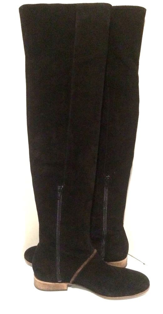 Free People Grandeur Black Suede Boots contrast top stitching, Size 8, NWD! $398 #FreePeople #FashionOvertheKnee