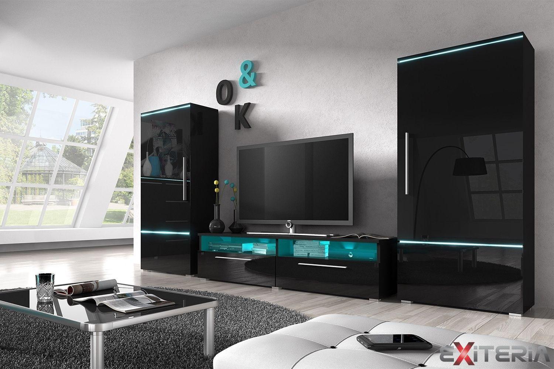 Moderná obývacia stena Kolby, skrine, stolík, biela, čierna