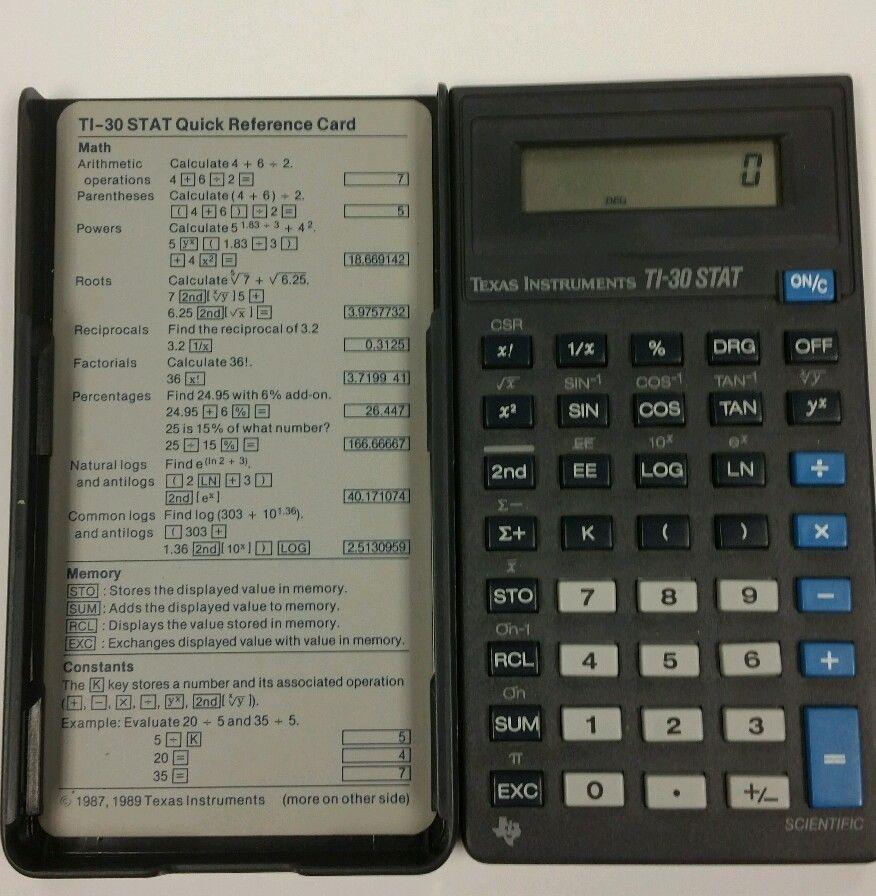 Texas Instruments Ti Stat Scientific Calculator W Cover