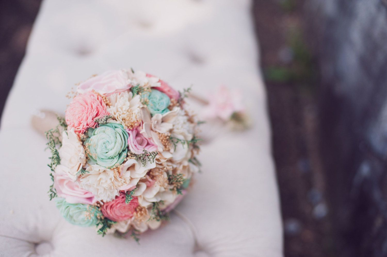 Romantic Wedding Bouquet Pink and Mint by CuriousFloralCrafts, $125.00