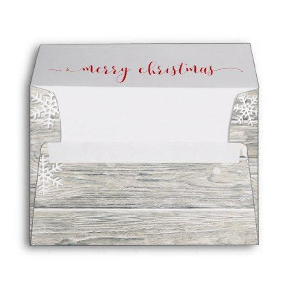 Rustic Wood Merry Christmas Snowflakes Envelope A7 - a7 envelope template