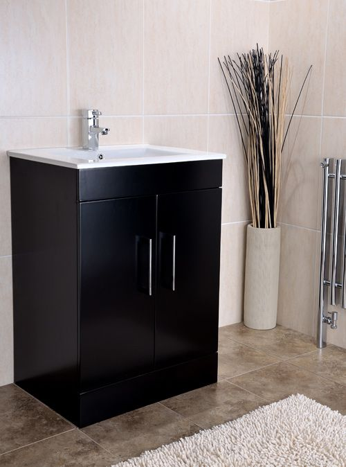 Hydra Milan Block 620mm Black Vanity Unit And Basin Vanity Units Black Vanity Vanity