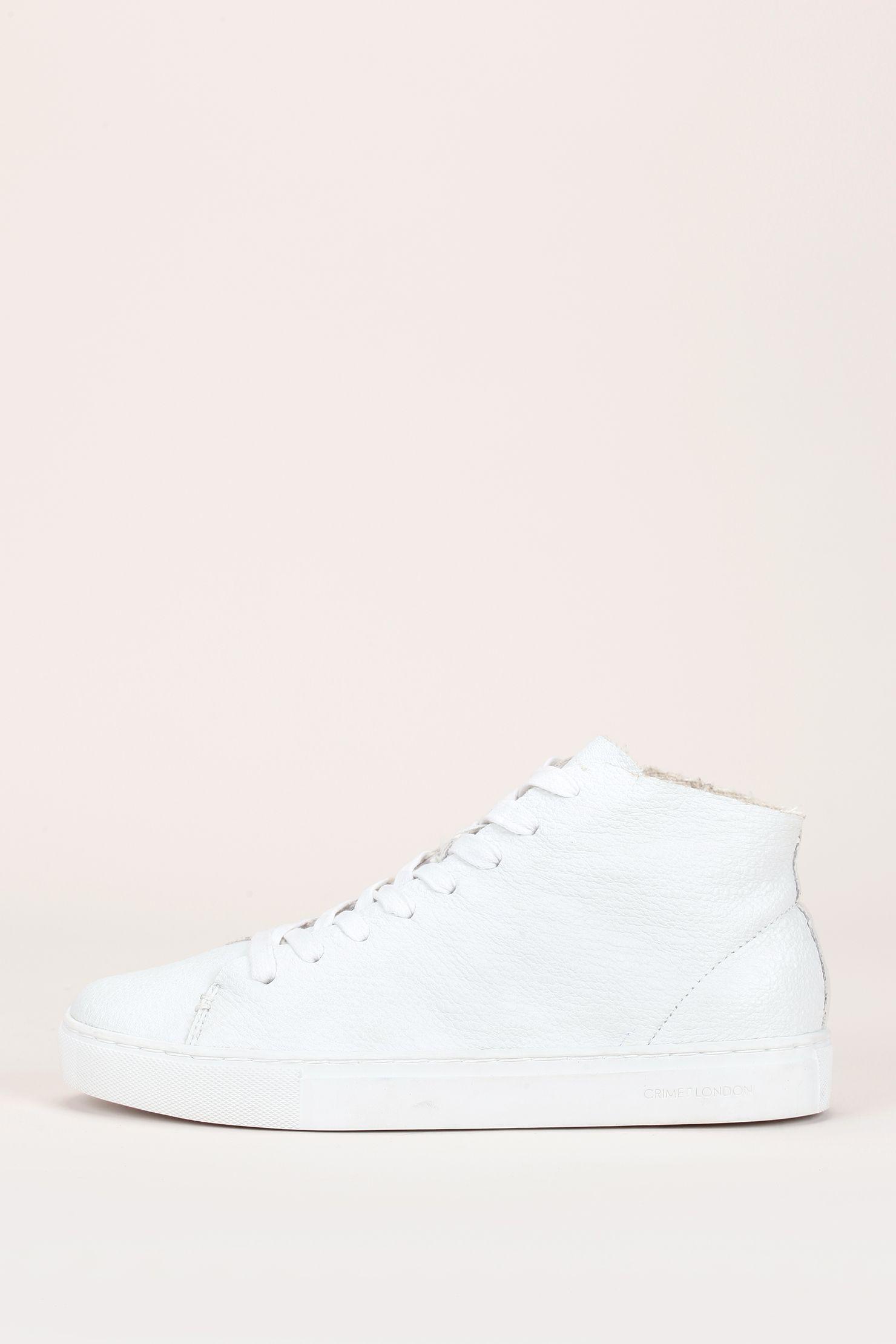 Sneakers montantes en cuir texturé blanc bords francs zoom