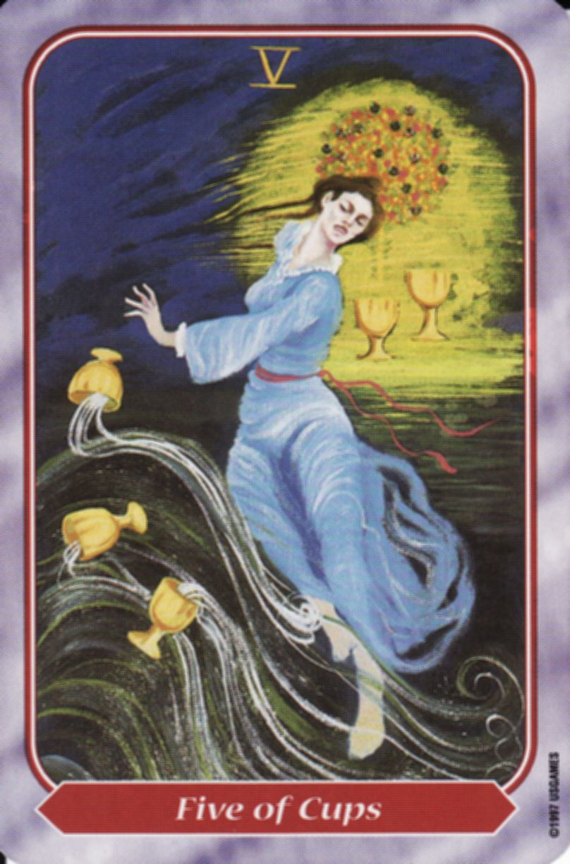 Card of the day five of cups from spiral tarot are you
