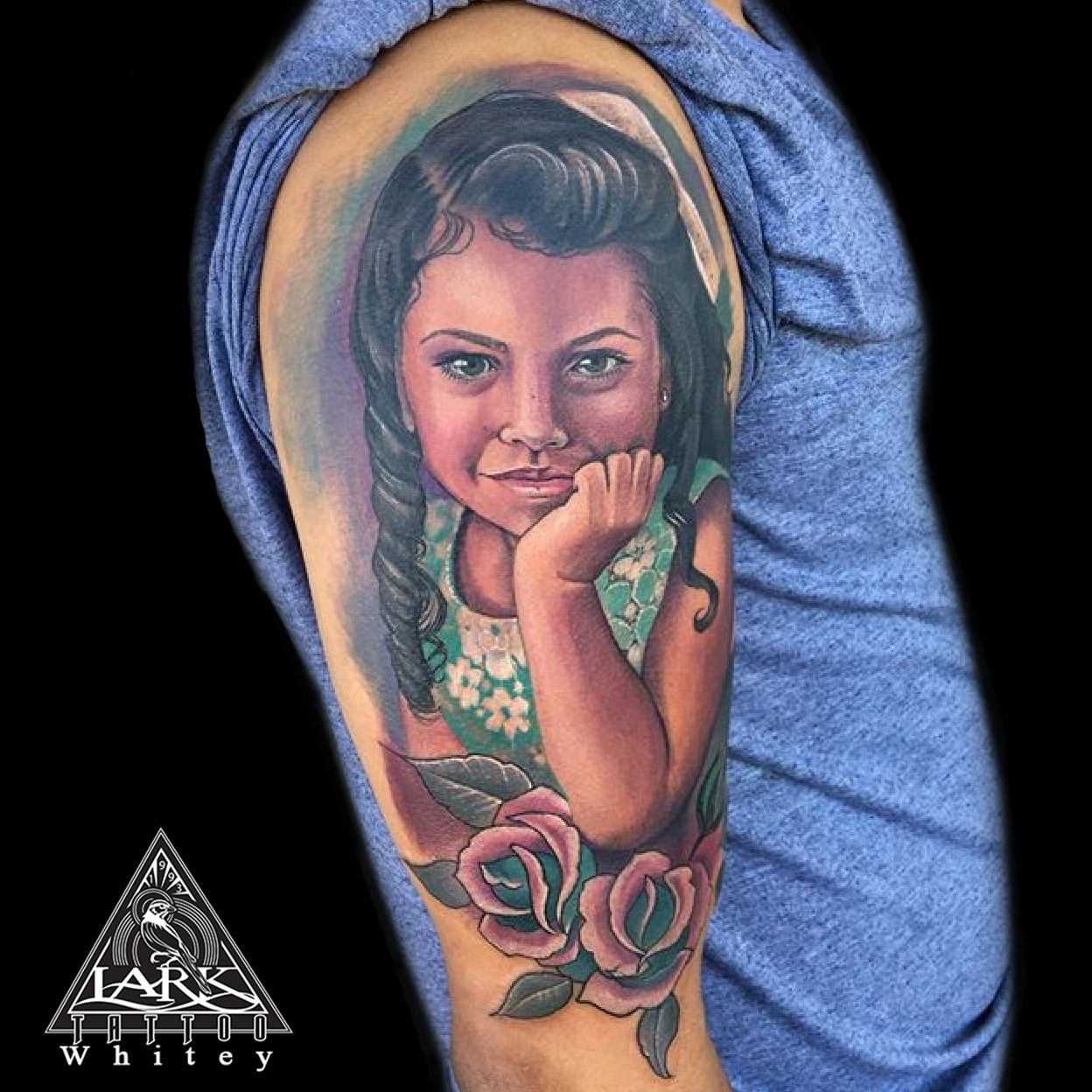 2526dd4025b52 Color portrait tattoo by Lark Tattoo artist Whitey. See more of Whitey's  work here: